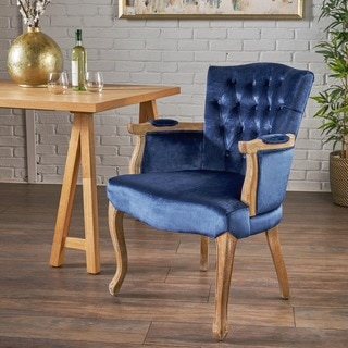 Rumi Traditional Velvet Armed Dining Chair by Christopher Knight Home