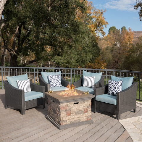 Antibes Outdoor 5-piece Wicker Club Chair Set with Square Stone Firepit by Christopher Knight Home