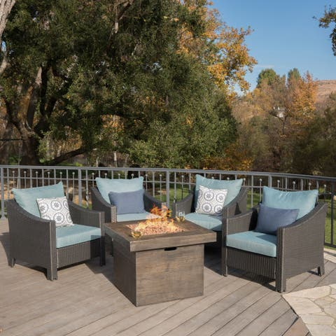 Antibes Outdoor 5-piece Wicker Club Chair Set with Square Firepit by Christopher Knight Home