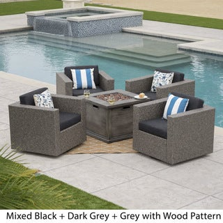 Achton Outdoor 4-piece Wicker Swivel Club Chair Set with Square Firepit by Christopher Knight Home (Grey)