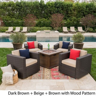 Achton Outdoor 4-piece Wicker Swivel Club Chair Set with Square Firepit by Christopher Knight Home (Brown)