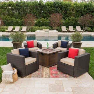 Achton Outdoor 4-piece Wicker Swivel Club Chair Set with Square Firepit by Christopher Knight Home