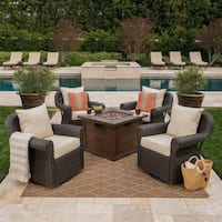 Venti Outdoor 4-piece Wicker Aluminum Swivel Club Chair Set with Square Firepit by Christopher Knight Home