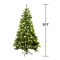 7FT Fireproofing Premium Hinged Artificial Christmas Tree Clear Lights
