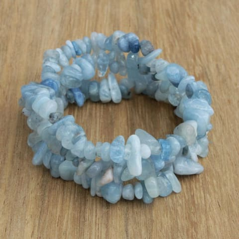Handmade Set of 3 Aquamarine 'Naturally Aqua' Bracelets (Brazil)