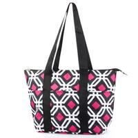 Zodaca Black Graphic Large Insulated Shoulder Lunch Tote Bag for Camping