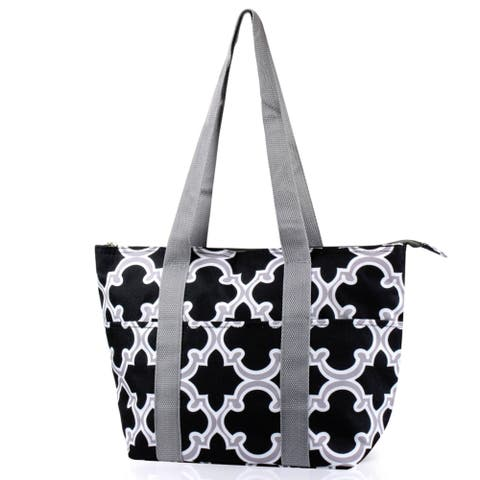 Zodaca Black Quatrefoil Large Insulated Shoulder Lunch Tote Bag for Camping