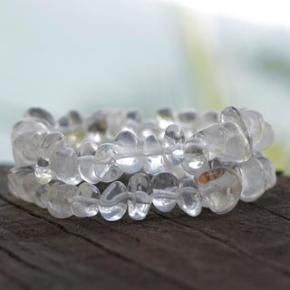 Handmade Set of 2 Agate 'Translucent Drops' Bracelets (Brazil)