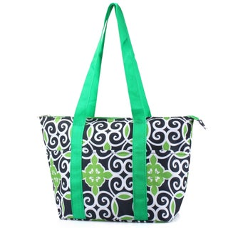 Zodaca Navy/ Green Swirls Large Insulated Shoulder Lunch Tote Bag for Camping
