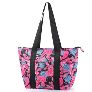 Zodaca Pink/ Black Paisley Large Insulated Shoulder Lunch Tote Bag for Camping