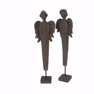 Laudably Divine Set Of 2 Polyresin Girl & Boy Angels