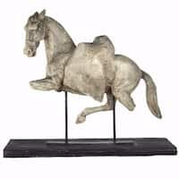 Vintage Altus Equine Figure On Stand, off-white and black
