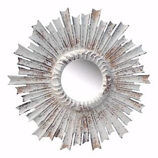 Modern Radiate Distressed Flare Mirror- White - N/A