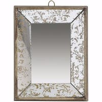 Rectangular Hanging Mirror with Hook , Small - gold and gray