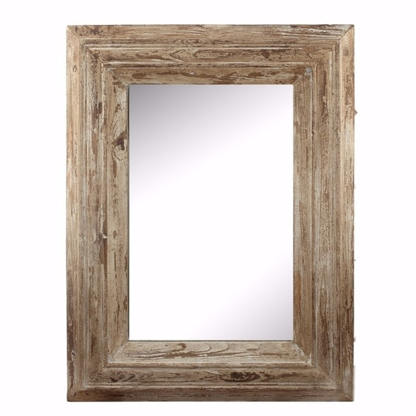 Shop Up-scaling Colfax Wall Mirror With Wooden Frame - Brown - Free ...