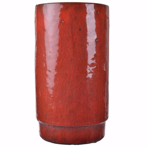 Aldo Modern Vase In Gloss Red Finish Free Shipping Today