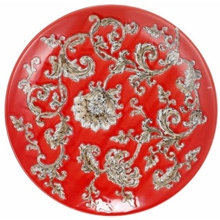 Decorative Plate with Flower Motif In Red