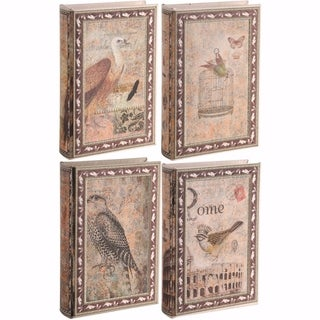 Set of 4 Old style bird Book Boxes, Multicolor