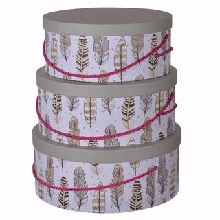 Round Hat Boxes With Feather Motifs - Set of 3