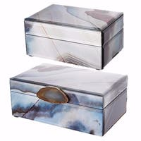 Contemporary Style Set of 2 Jewelry Boxes, Multicolor