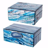 Space Efficient Set of 2 Jewelry Boxes , Blue