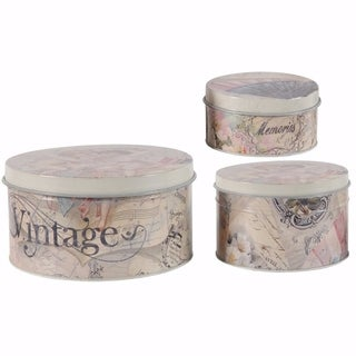 Awesome Print Multicolor Decorative Tin Boxes - Set of 3