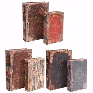 Set of 6 Antique Distressed Book Boxes, Multicolor, 3 Assortment