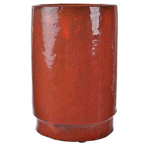 Shop Modern Style Vase In Red Glossy Look Free Shipping Today
