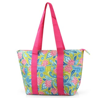 Zodaca Green/ Pink Paisley Large Insulated Shoulder Lunch Tote Bag for Camping