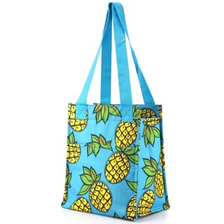 Zodaca Pineapple Print Insulated Shoulder Lunch Tote Bag for Camping