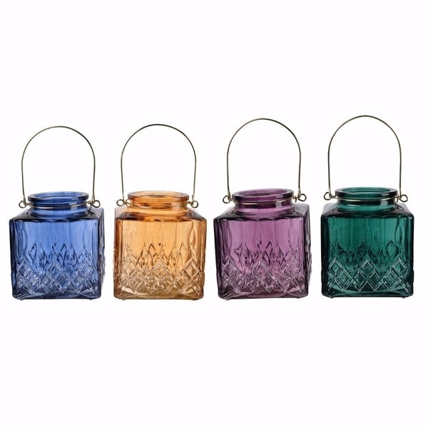 Colorful And Lively Set Of 4 Alma Square Candle Holders