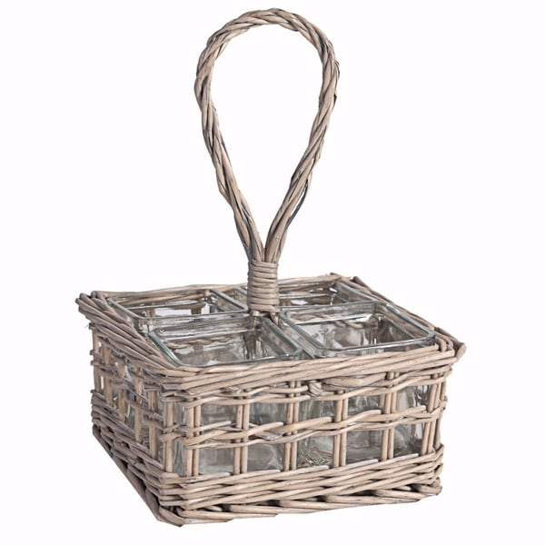 Striking Beauty Glass Candle Holders In Willow Basket