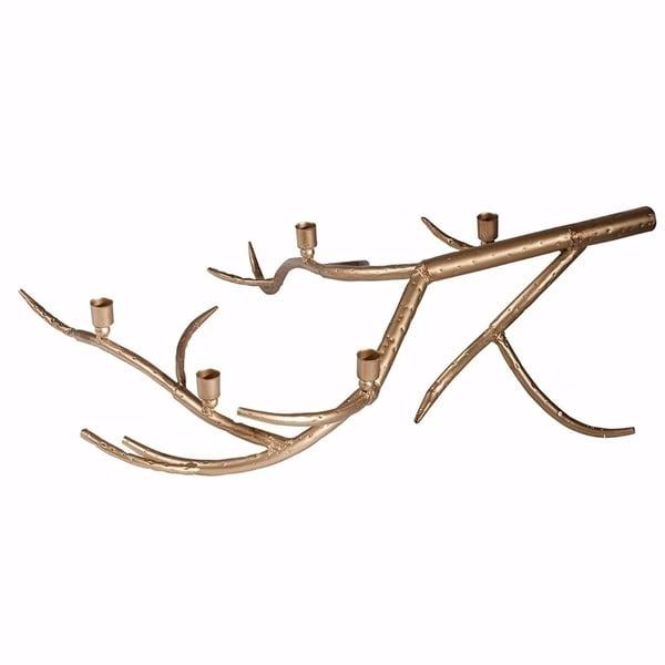 Striking Tree Branch Metal Candle Holder Gold