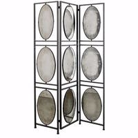 Art Inspired Aviva 3-Panel Screen Antiqued Mirrors - Black - N/A
