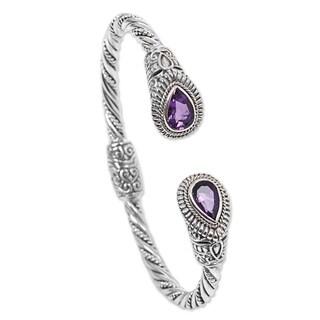 Handmade Sterling Silver 'Bright Eyes' Amethyst Bracelet (Indonesia)