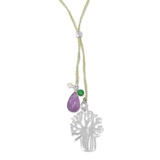 Handmade Sterling Silver 'Green Banyan Tree' Multi-gemstone Necklace (3 mm) (Indonesia)