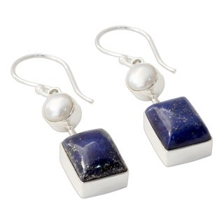 Handmade Sterling Silver 'Bangalore Glam' Lapis Lazuli Cultured Pearl Earrings (6 mm) (India)