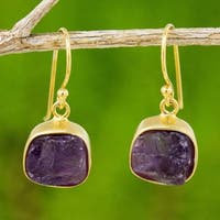 Handmade Gold Overlay 'Violet Royale' Amethyst Earrings (Thailand)
