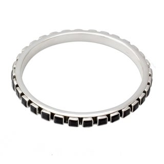 Handmade Sterling Silver 'Fast Track' Onyx Bracelet (India)