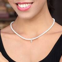 Handmade Sterling Silver 'Spirit of Faith' Cultured Pearl Necklace (4 mm) (Thailand)