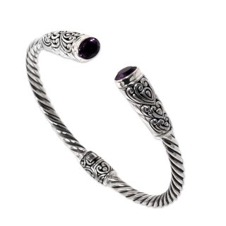 Handmade Sterling Silver 'Totem Hearts' Amethyst Bracelet (Indonesia)