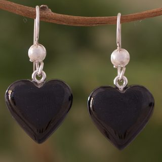 Handmade Sterling Silver 'Mayan Heart in Black' Jade Earrings (Guatemala)