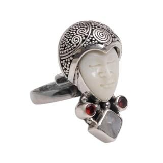 Handmade Sterling Silver 'Honored Knight' Rainbow Moonstone Garnet Ring (Indonesia)