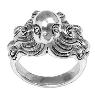 Handmade Sterling Silver 'Octopus of the Deep' Ring (Indonesia)