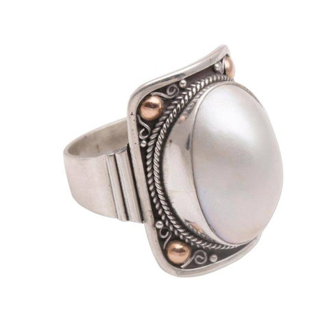 Handmade Sterling Silver Gold Accent 'Palace of Moonlight' Cultured Mabe Pearl Ring (15 mm) (Indonesia)