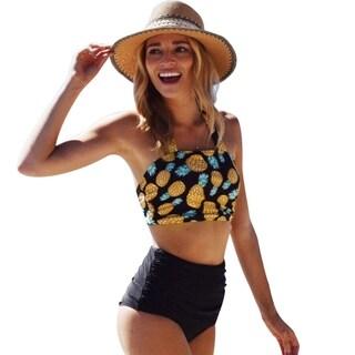 Cupshe Women's Pineapple Printing High-waisted Swimsuit Padded Halter Bikini Set