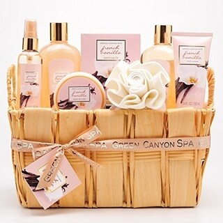 Green Canyon Spa Deluxe Natural Wood Gift Basket Set in French Vanilla
