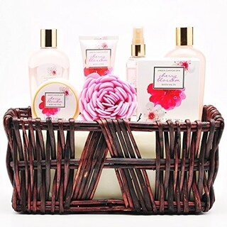 Green Canyon Spa Wicker Basket Gift Set in Cherry Blossom