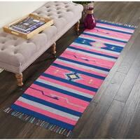 "Nourison Baja Moroccan Pink/Blue Runner Rug (2'3 X7'6) - 2'3"" x 7'6"" Runner"