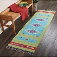 """Nourison Baja Moroccan  Blue Green Runner Rug (2'3 X7'6  ) - 2'3"""" x 7'6"""" Runner"""